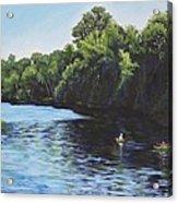 Kayaks On Rainbow River Acrylic Print by Penny Birch-Williams