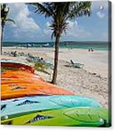 Kayaks On The Beach Acrylic Print by Amy Cicconi