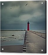 Kenosha North Pier Lighthouse - Dark And Stormy Acrylic Print