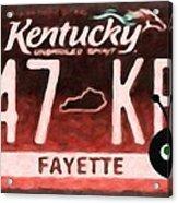 Kentucky License Plate Acrylic Print