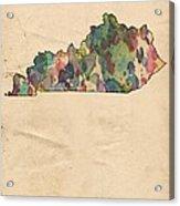 Kentucky Map Vintage Watercolor Acrylic Print