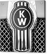 Kenworth Truck Emblem -1196bw Acrylic Print