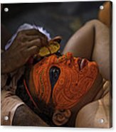 Kerala - A Theyyam-dancer Receives The Ornamental Face-painting Acrylic Print