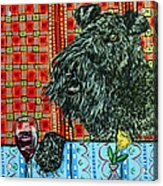 Kerry Blue Terrier At The Wine Bar Acrylic Print by Jay  Schmetz