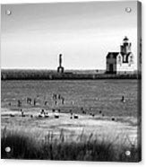 Kewaunee Lighthouse In Bandw Acrylic Print