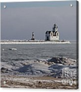 Kewaunee Lighthouse In Winter Acrylic Print