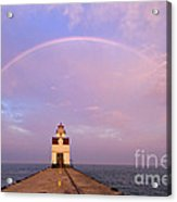 Kewaunee Pierhead Lighthouse And Rainbow - D002811 Acrylic Print