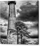 Key Biscayne Fl Lighthouse Black And White Img 7167 Acrylic Print