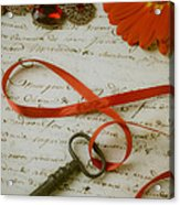 Key On Red Ribbon Acrylic Print