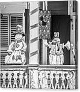 Key West Christmas Decorations 2 - Black And White Acrylic Print