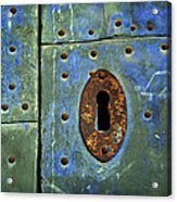 Keyhole On A Blue And Green Door Acrylic Print
