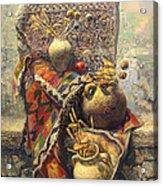 Khachkar Cross  Stone Still Life With Jugs Acrylic Print