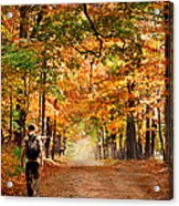 Kid With Backpack Walking In Fall Colors Acrylic Print