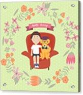 Kid With Golden Retriever Dog On The Acrylic Print
