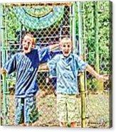 Kids And The Train Acrylic Print
