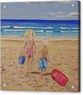 Kids on the beach Acrylic Print
