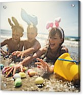 Kids playing in sea during summer Easter Acrylic Print