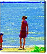 Kids Playing On The Seashore Mom And Little Boys Pointe Claire Montreal Waterscene Carole Spandau Acrylic Print