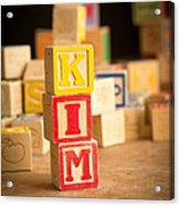 Kim - Alphabet Blocks Acrylic Print by Edward Fielding