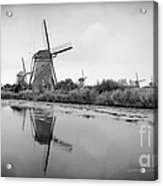 Kinderdijk In Black And White Acrylic Print