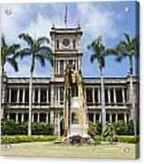 King Kamehameha In Leis Acrylic Print