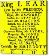 King Lear Playbill Acrylic Print