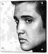 King Of Rock Elvis Presley Black And White Acrylic Print