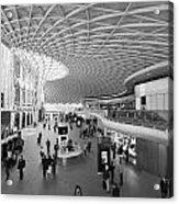 Kings Cross Railway Station London Bw Acrylic Print