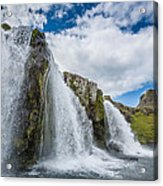 Kirkjufellsfoss Waterfalls, Church Acrylic Print
