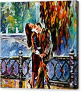 Kiss After The Rain - Palette Knife Oil Painting On Canvas By Leonid Afremov Acrylic Print