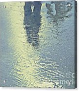 Kissing Couple With Palm Reflection Acrylic Print