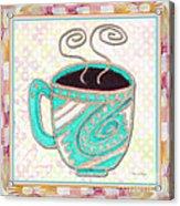 Kitchen Cuisine Hot Cuppa Aqua By Romi And Megan Acrylic Print
