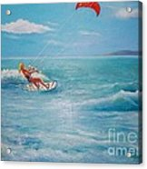 Kite Serf Acrylic Print by George Siaba