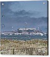 Kite Surfing Alcatraz Acrylic Print by Chuck Kuhn