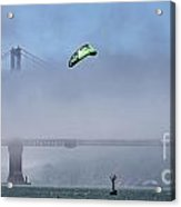 Kite Surfing Golden Gate Acrylic Print by Chuck Kuhn