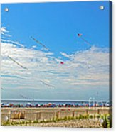 Kites Flying Over The Sand Acrylic Print