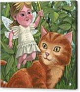 Kitten With Girl Fairy In Garden Acrylic Print