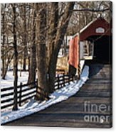 Knecht's Bridge On Snowy Day - Bucks County Acrylic Print