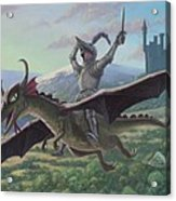 Knight Riding On Flying Dragon Acrylic Print by Martin Davey