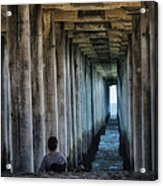 Knitter Under The Pier Acrylic Print