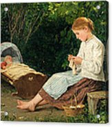 Knitting Girl Watching The Toddler In A Craddle Acrylic Print