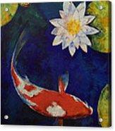 Kohaku Koi And Water Lily Acrylic Print