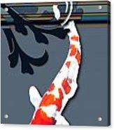 Kohaku Koi With Decorative Flourish Acrylic Print
