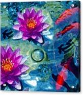 Koi And The Water Lilies Acrylic Print