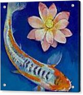 Koi Fish And Lotus Acrylic Print