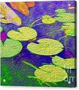 Koi Fish Under The Lilly Pads  Acrylic Print by Jon Neidert