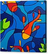 Koi Joi - Blue And Red Fish Print Acrylic Print