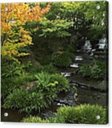 Kokoen Garden Waterfall - Himeji Japan Acrylic Print by Daniel Hagerman