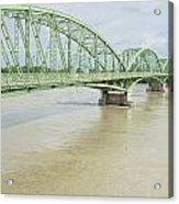Komarom Bridge Over Flooding Danube River Acrylic Print