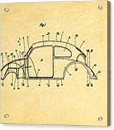 Komenda Vw Beetle Body Design Patent Art 1944 Acrylic Print by Ian Monk